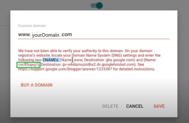 Set-up Custom Domain in Blogger