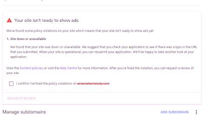 Site down or Unavailable problem adsense